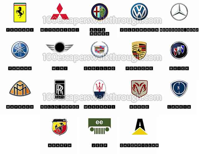 Logo Quiz Cars Answers | 94% Game Answers for 100 Escapers ...